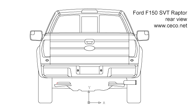 autocad drawing F150 Ford SVT Raptor pick-up - rear view in Vehicles, Cars