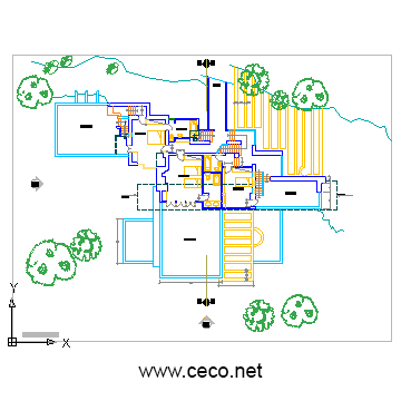 autocad drawing Fallingwater House - Second floor in Architecture