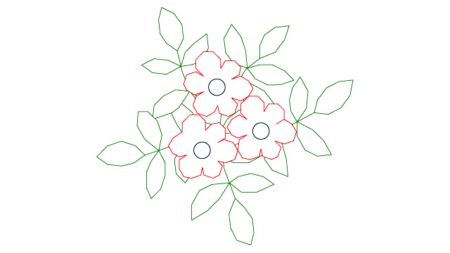 Autocad drawing flowers and leaves herbage dwg