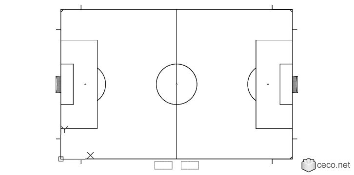 Autocad drawing Football Soccer field according to FIFA World Cup dwg