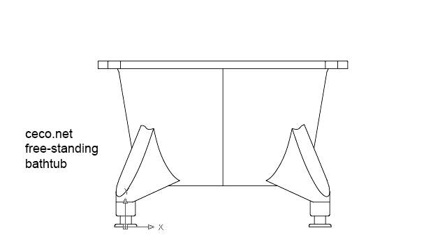 autocad drawing free-standing bathtub front view dwg
