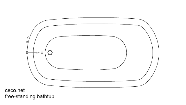 autocad drawing free-standing bathtub plan view dwg