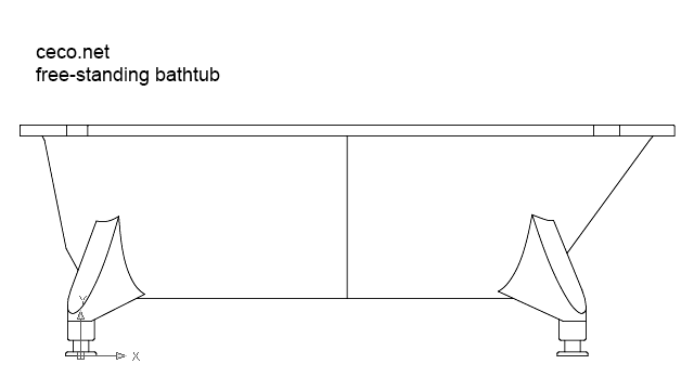 autocad drawing freestanding bathtub side view dwg