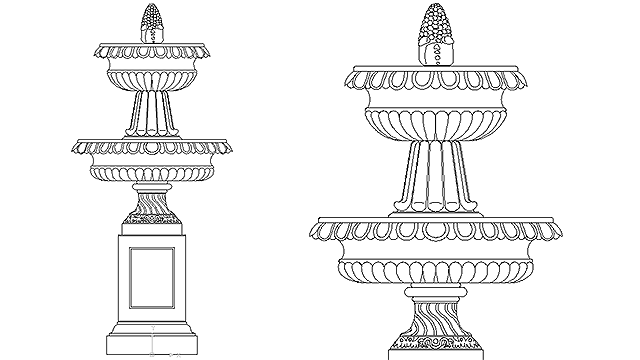 Autocad drawing garden water fountain garden ornament dwg