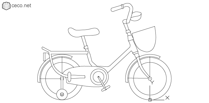 Autocad Drawing Girl Bike Children Bicycle Kids With Training Wheels