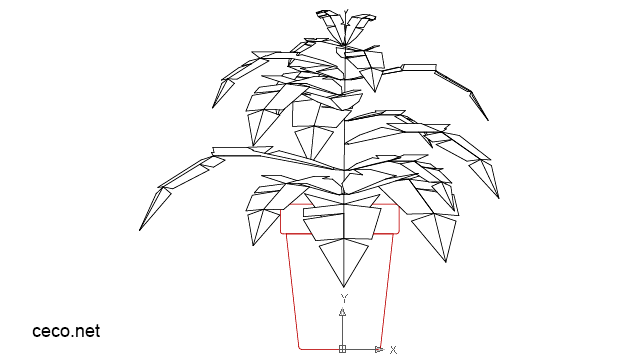 autocad drawing green leafy plant in a ceramic pot in Garden & Landscaping, Plants Bushes