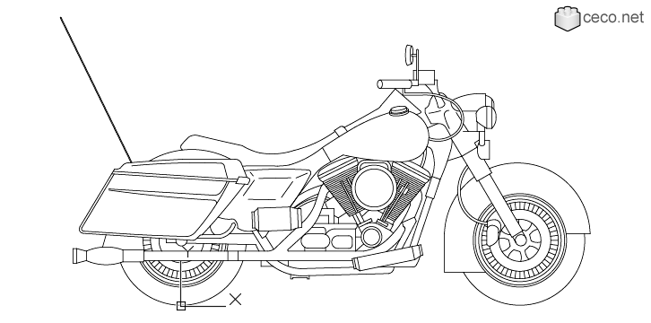 autocad drawing Harley Davidson Motorcycle Street Glide Model FLHX in Vehicles, Bikes & Motorcycles