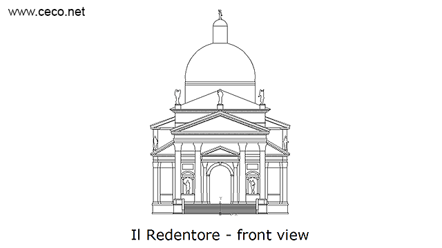 Il Redentore Venice by Andrea Palladio - front in Architecture - Ceco.NET free autocad drawings