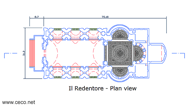 autocad drawing Il Redentore Venice by Andrea Palladio - plan in Architecture