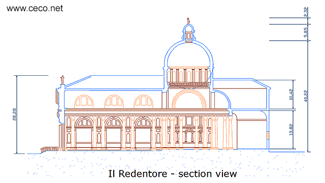 autocad drawing Il Redentore Venice by Andrea Palladio - section in Architecture