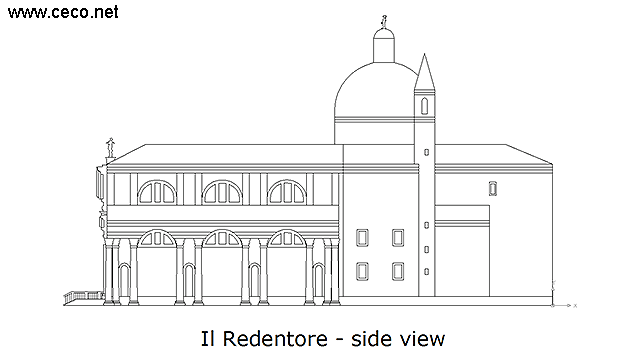 autocad drawing Il Redentore Venice by Andrea Palladio - side in Architecture