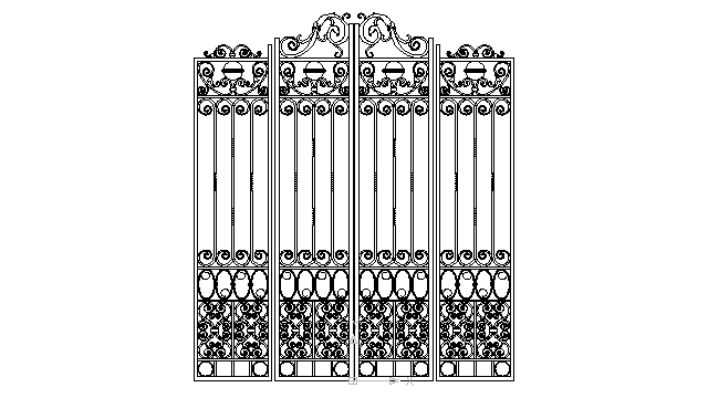 autocad drawing ironwork gate 1 in Decorative elements