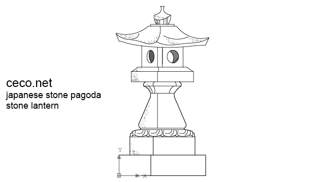 autocad drawing japanese garden pagoda stone lantern carved granite in Decorative elements
