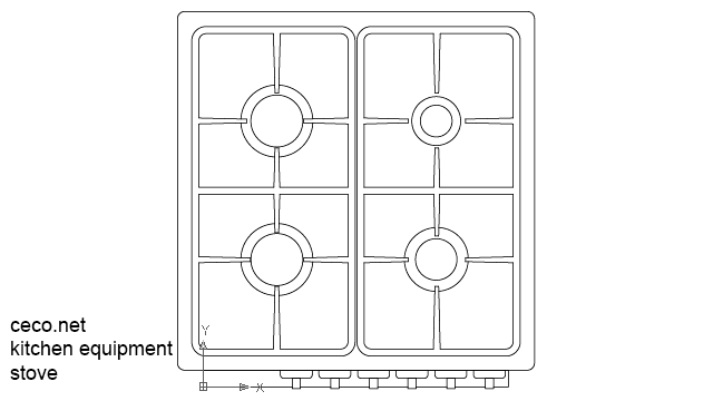 Autocad Drawing Kitchen Gas Stove In Equipment