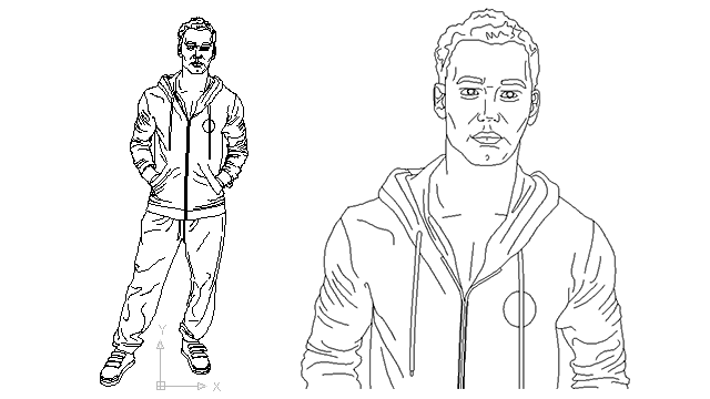 autocad drawing male athlete in jogging sports running in People, Men