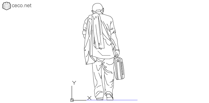 autocad drawing Man walking on his back with a briefcase in his hand in People, Men
