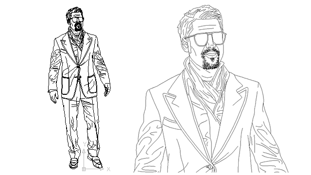 Autocad Drawing Mature Dandy Male Old Man Dwg