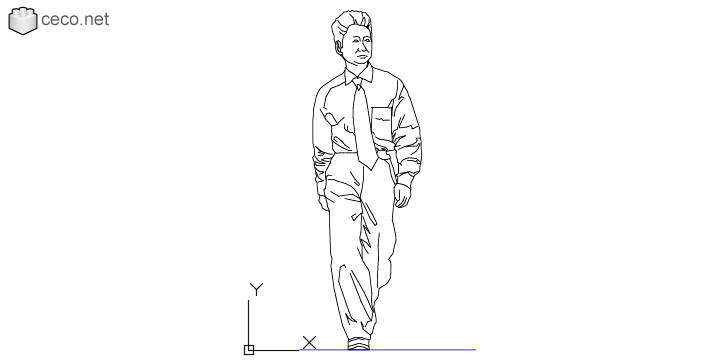 autocad drawing Middle-aged man walking in People, Men