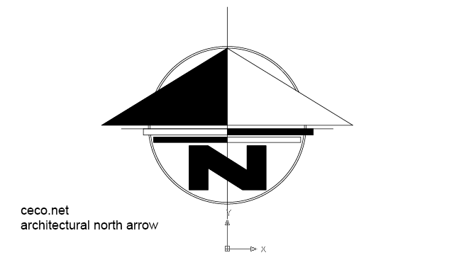 autocad drawing modernistic north arrow in Symbols Signs Signals, North Arrows