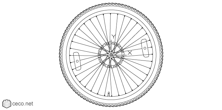 autocad drawing Mountain bike wheel, rims 28, with a bicycle tire in Vehicles, Bikes & Motorcycles
