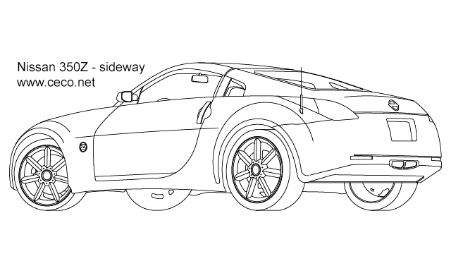 Nissan 350Z sport car coupe automobile - sideway 2 in Vehicles / Cars - Ceco.NET free autocad drawings