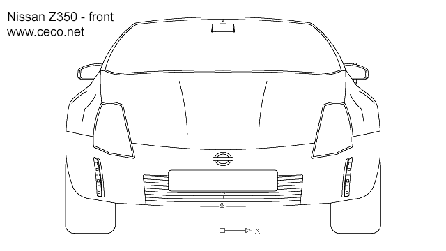 autocad drawing Nissan 350Z sports car - front in Vehicles, Cars