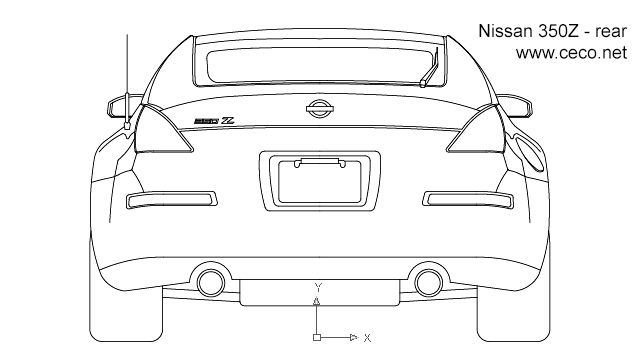 Nissan 350Z sports car - rear in Vehicles / Cars - Ceco.NET free autocad drawings