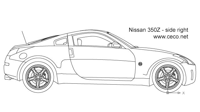 autocad drawing Nissan 350Z sports car - right side in Vehicles, Cars