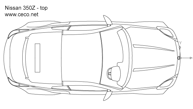 Nissan 350Z sports car - top view in Vehicles / Cars - Ceco.NET free autocad drawings