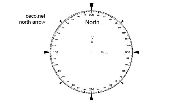 autocad drawing north arrow 18 circular compass in Symbols, North Arrows