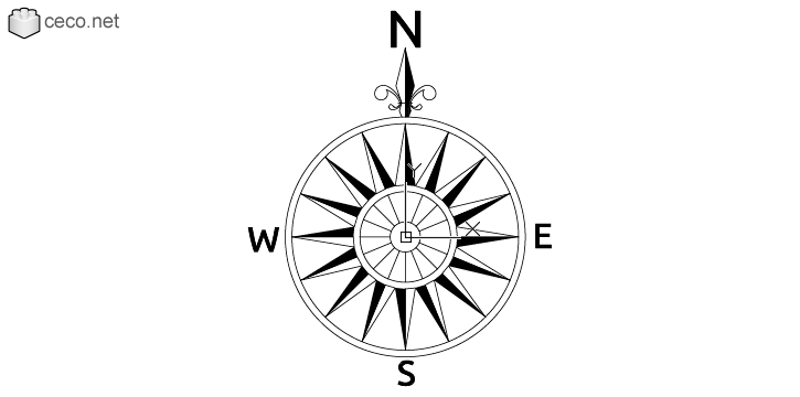 autocad drawing north arrow 19 vintage compass rose in Symbols Signs Signals, North Arrows