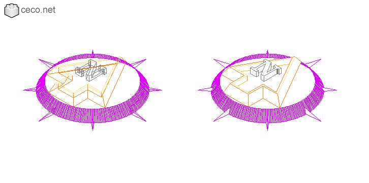 autocad drawing North arrow 3D in Symbols Signs Signals, North Arrows