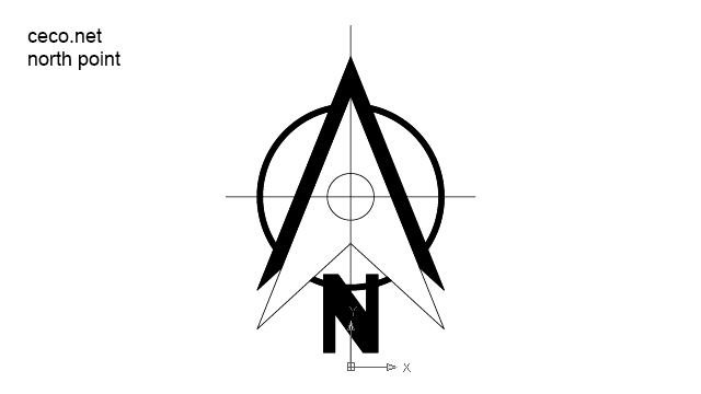 autocad drawing north point 1 in Symbols Signs Signals, North Arrows