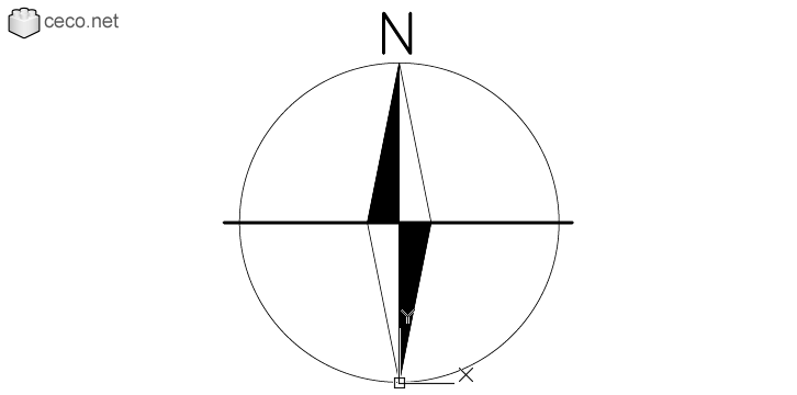 autocad drawing North point magnetic compass needle north symbol in Symbols Signs Signals, North Arrows