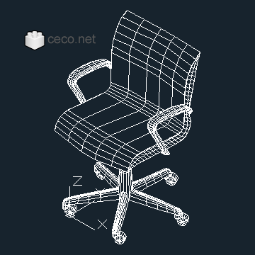 autocad drawing Office Chair 3D in Furniture