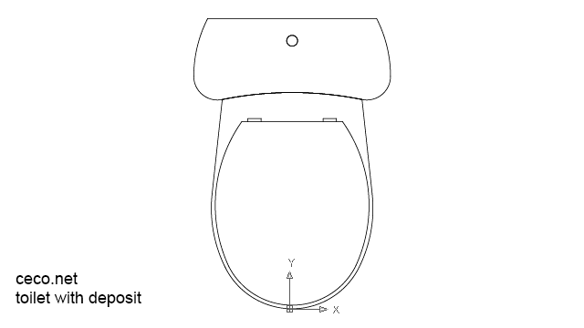 Autocad Drawing One Piece Toilet With Deposit Plan View In Bathrooms Detail