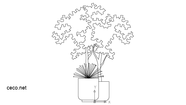 autocad drawing Ornamental shrub in a pot in Garden & Landscaping, Plants Bushes