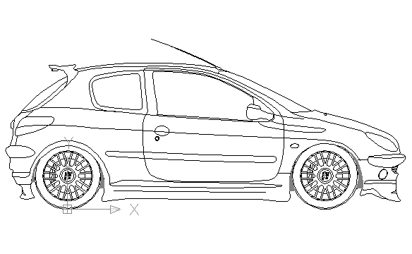 autocad drawing Peugeot 206 GTi 180 3 doors in Vehicles, Cars