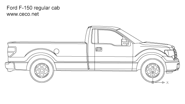 autocad drawing pick-up Ford F-150 regular cab side view in Vehicles, Cars