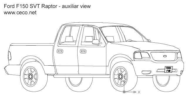 pick-up Ford F150 SVT Raptor auxiliar view in Vehicles / Cars - Ceco.NET free autocad drawings