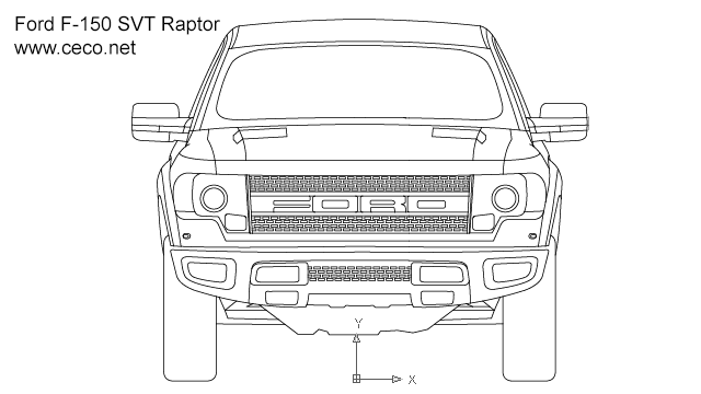 autocad drawing pick-up Ford F150 SVT Raptor front view in Vehicles, Cars