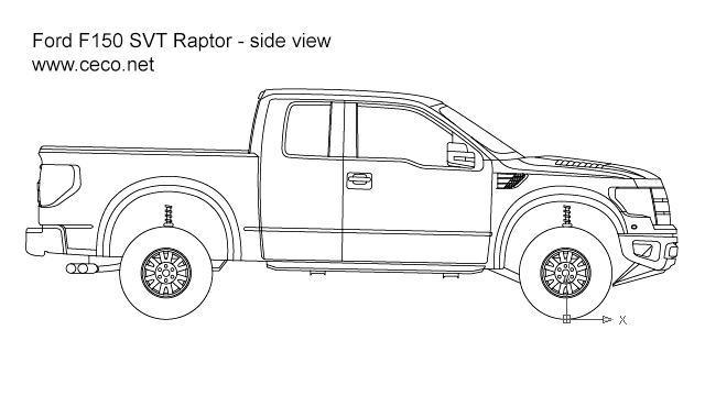 autocad drawing pick-up Ford F150 SVT Raptor - side view in Vehicles, Cars