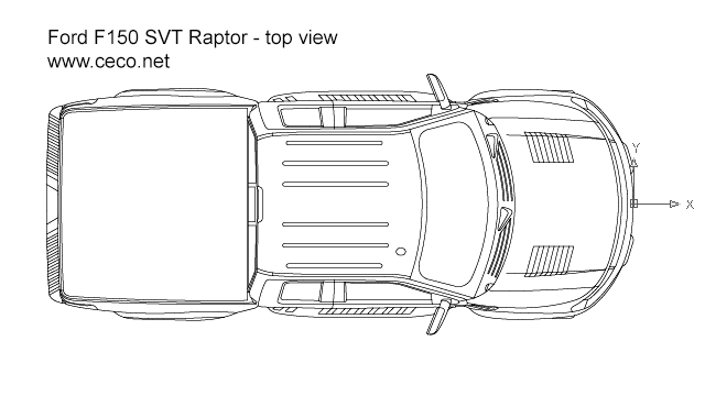 autocad drawing pick-up Ford F150 SVT Raptor top view in Vehicles, Cars