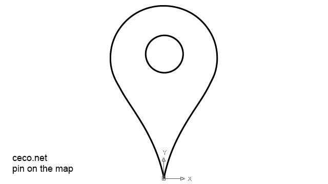 autocad drawing pin on the map google maps style in Symbols Signs Signals