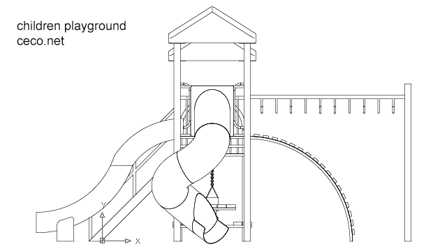 Autocad Drawing Playground For Children In Garden Dwg