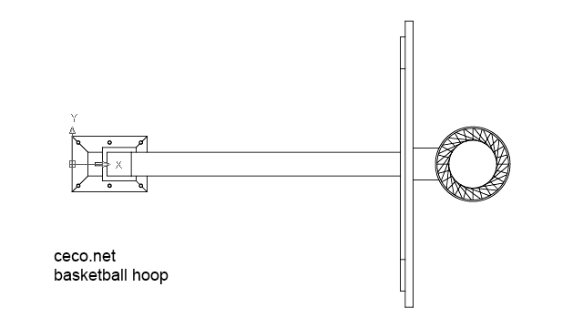 autocad drawing Pole Basketball Hoop top in Equipment, Sports Gym Fitness
