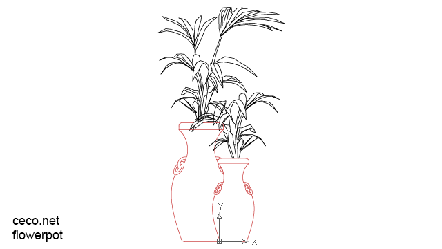 autocad drawing pottery flower pot in Garden & Landscaping, Plants Bushes