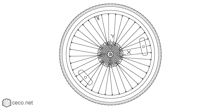 autocad drawing Rear mountain bike wheel, rims 28, with a bicycle tire in Vehicles, Bikes & Motorcycles