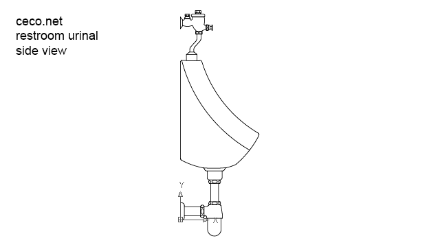 autocad drawing restroom urinal side view in Bathrooms Detail