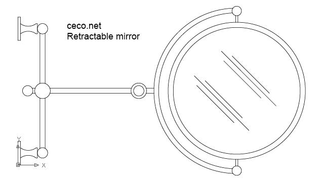 autocad drawing Retractable shaving mirror in Bathrooms Detail